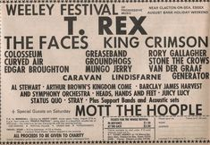Line-up for the Weeley Festival. Essex, August 1971