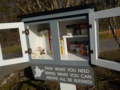 Blessing Box/Little Free Pantry--one color with metal roof and two doors, loose post mount, assembled with optional solar light and sign by WalltoWallWoodworks on Etsy https://www.etsy.com/listing/499716320/blessing-boxlittle-free-pantry-one-color