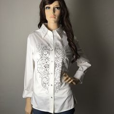 Stunning Embellished Western Button Down Top  Excellent condition, other than a few small make stains around the collar. Not noticeable when worn.  Absolutely  beautiful! I have a bundle discount and hundreds of lovely listings in all different sizes! My closet is full of tops, dresses, scarves, jackets, coats, sweaters, skirts, handbags, shoes and formal wear. I do not accept offers on items $10 or less, please make a bundle if you want a discount.  I normally ship within a day. Let me know…