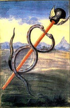 """""""L'alato Caduceo di Mercurio"""". Dal """"Libro di Abramo l'Ebreo"""", riproduzione attribuita a Denis Molinier, XVIII sec. / Sacred Geometry <3"""
