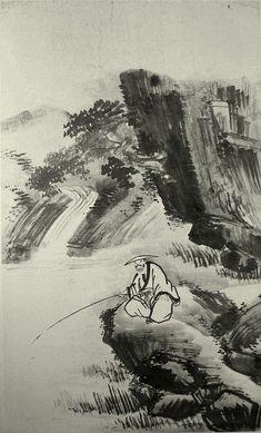 (Korea) Fishing by Gyeomjae Jeong Seon. ca century CE. National Museum of Korea. Korean Painting, Chinese Painting, Chinese Art, Painting & Drawing, Watercolour Painting, Asian Artwork, Pretty Drawings, Minimalist Painting, Korean Artist