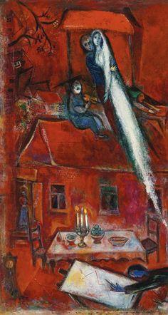 Crépuscule ou la maison rouge (1948) - Marc Chagall