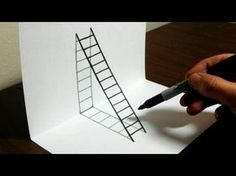 How to draw a ladder optical illusion. Trick art for kids. Materials used: How to draw a ladder optical illusion. Trick art for kids. Materials used: cardstock, Grey Bic Marking Pen, Black Sharpie Pen WEBSITE: www. Easy 3d Drawing, 3d Drawing Tutorial, 3d Art Drawing, Paper Drawing, Drawing For Kids, Easy Drawings, Art For Kids, Paper Art, Drawing Tips
