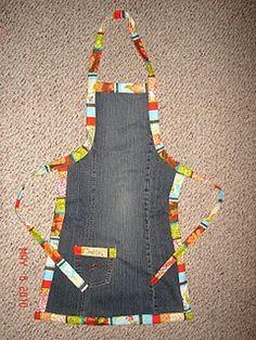 Old Blue Jeans pant leg + a little fabric . . . simple, cute, sturdy DIY Apron.