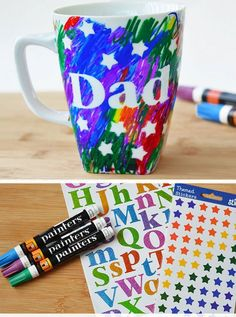 Father's Day Scribble Mug | DIY Fathers Day Gift Ideas from Kids | DIY Birthday Gifts for Dad