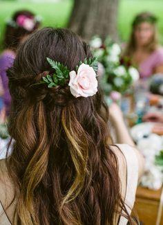 Hair, boho wedding hair half up, boho bridal hair, bridesmaid hair Wedding Hair Flowers, Wedding Hair Pieces, Wedding Hair And Makeup, Flowers In Hair, Hair Wedding, Green Wedding, Boho Wedding Hair Half Up, Wedding Nails, Rustic Wedding Hair
