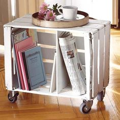 wood crate end table on wheels