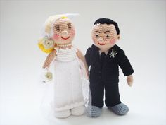 Bride and Groom  Wedding  Handmade Amigurumi by BoutiqueCarnival, $60.00