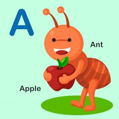 Isolated animal alphabet letter a-ant apple vector image on VectorStock Alphabet Crafts, Alphabet Worksheets, Preschool Alphabet, Alphabet Pictures, Word Pictures, Kindergarten Reading Activities, Apple Vector, English Lessons For Kids, Animal Alphabet