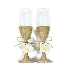 Amazon.com   Rustic Wedding Toasting Glasses with Twine, Rustic Champagne Flutes, Bride and Groom Glasses, Wedding Glasses Set Engraved Heart, Wedding Glasses: Champagne Glasses