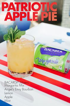If there's anything more American than grandma's apple pie, it's a Patriotic Apple Pie cocktail! Made with BACARDI® Mixers Margarita, lemon and apple, a handful of mint, and your favorite bourbon, it's a little bit sweet, a little bit spicy, and very, very refreshingly delicious!