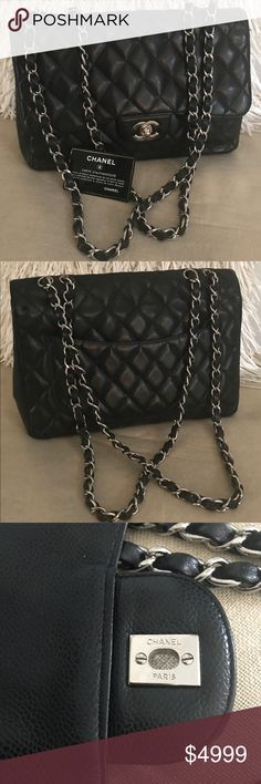 28cb3d3a99a0dd CHANEL Classic Single Flap Bag Black Caviar Jumbo CHANEL Classic, Jumbo  Single Flap. 2006. Authenticity Card Included. Very Gently used condition.