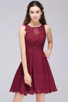A-line Lace Jewel Sleeveless Short Bridesmaid Dresses with Appliques   Yesbabyonline.com