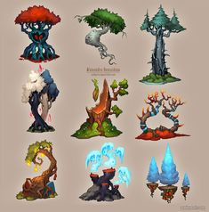 30 Beautiful Tree Drawings and creative Art Ideas from top artists Baumzeichnung Ideen Game Design, Prop Design, 2d Game Art, 3d Fantasy, Fantasy Trees, Game Concept Art, Environment Concept, Environment Drawing Ideas, Environmental Art