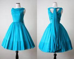 1950's dress  blue chiffon 50's dress by 1919vintage on Etsy, $325.00