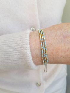 Dainty Bracelets, Seed Bead Bracelets, Bracelet Sizes, Seed Beads, Bangles, Light Turquoise, Light Blue, Gifts For Friends, Gifts For Her