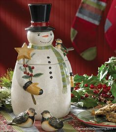 The Country Porch features the Winter Magic Cookie Jar & Salt & Pepper Shaker Set from Park Designs. Cute Christmas Cookies, Christmas Dishes, Holiday Cookies, Christmas Snowman, Rustic Christmas, Christmas Stuff, Christmas Crafts, Christmas Ornaments, Peanut Blossoms