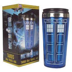Amazon.com: Doctor Who TARDIS 16 oz. Travel Mug: Kitchen & Dining