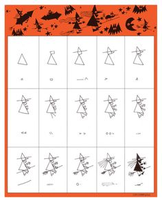 Ed Emberly free Halloween drawing pages! How to draw a witch, jack-o-lantern, black cat etc.