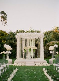Mandap white flowers and clear chairs #indianwedding #shaadibazaar