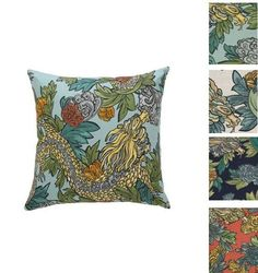 Ming Dragon Pillow Cover Robert Allen Pillow Cover Dwell Studio Aquatint,Cream, Admiral, Persimmon ONE PILLOW COVER