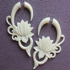 Fake Gauges  MALEE  Hand Carved Tribal Earrings  by SanskritDream, $23.00