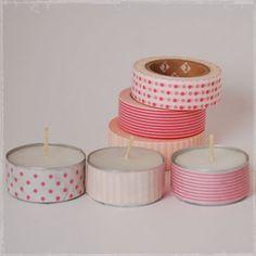 Masking tip idee: Ook je saaie waxinelichtjes kun je met masking tape op leuken -  Buy #maskingtape at www.vanmariel.nl