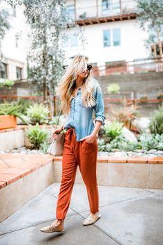 Elle Apparel | Rust tie pants + chambray top