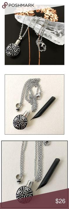 """✨Celtic Cremation Necklace To Hold Beloved Ashes✨ Intricate Four Triquetra Knot Design with Black Detailing✨Beautiful Tiny Cremation Urn Necklace To Hold A Small Amount Of Beloved Ashes✨ Celtic Knot Design Necklace Is Perfect And Is Well Made✨Stainless Steel With 18"""" Chain✨Stainless Steel Is Perfect As It Is Incredibly Durable And Wears Extremely Well✨Measures Approx 1-1/8""""L X 3/4"""" Across✨Seals With A Tiny Screw Top that is Very Secure✨I Have Several Of These That Hold My Cherished Pets…"""