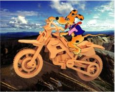 Amazon.com: Puzzled Cross Country Motorcycle 3D Natural Wood Puzzle: Toys & Games