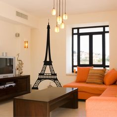 Wall decal of the Eiffel Tower.  Product: Wall decalConstruction Material: VinylColor: Black