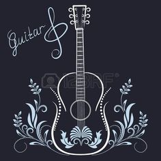 music: Hand drawn floral ornament and guitar with treble clef and  inscriptions