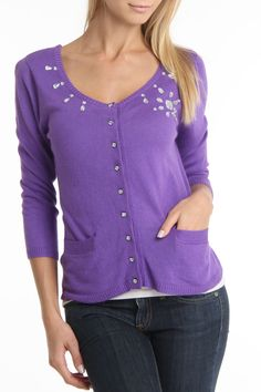 Color works Cardigan With Crystal Beading In Ultra Violet - Beyond the Rack