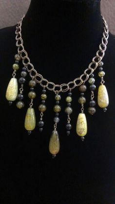Dyed Agate & Onyx Bib Necklace