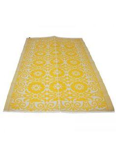 LEF collections Vloerkleed/ buitenkleed plastic geel 120x180cm of 180x270