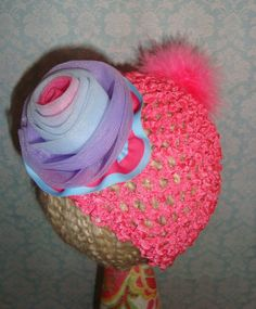 Hot Pink Waffle hat with multi-colored organza ribbon and pink feather pom pom.
