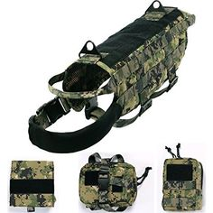 Hiking Dog Packs - Yisibo Tactical Dog Molle Vest Harness Training Dog Vest Packs with Detachable Pouches Compact Vest Nylon Pet Vest >>> Be sure to check out this awesome product.
