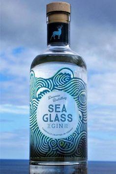 Deerness Distillery Gin - Sea Glass with gin mat Beverage Packaging, Bottle Packaging, Water Packaging, Alcohol Bottles, Liquor Bottles, Gin Tasting, Gin Brands, Drink Labels, Label Design