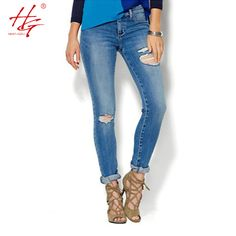 C18 2017 spring high waist jeans women plus size tight denim pants female holes  blue jeans ripped trousers
