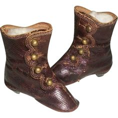 Great Pair of Antique French Fashion Doll Boots