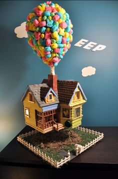 """up"" house with peeps as balloons Still one of my favorite peeps!"