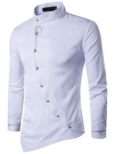 Stand Collar Embroidery Unique Oblique Men's Irregular Shirt