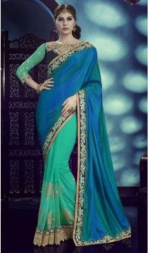 Turquoise Color Georgette Silk Fabric Traditional Wear Saris Blouse | FH513278204 #party , #wear, #saree, #indian, #festive, #fashion, #online, #shopping, #designer, #usa, #henna, #boutique, #heenastyle, #style, #traditional, #wedding, #bridel, #casual, @heenastyle , #blouse, #prestiched, #readymade, #stiched , #lehegasaris, #sari, #saris