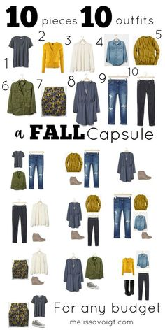 Fall Outfits How to create a simple 10 piece capsule wardrobe for Fall. We have links to pieces that will fit any budget. You will be surprised at how this 10 piece wardrobe can create many stylish outfitsA great capsule for any minimalist. 10 Piece Wardrobe, Capsule Wardrobe Mom, Capsule Outfits, Fashion Capsule, Wardrobe Basics, Simple Wardrobe, 10 Item Wardrobe, Fall Wardrobe Essentials, Mom Wardrobe