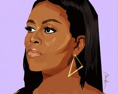 Monica Ahanonu Art by MonicaAhanonuDesign on Etsy Illustration Vector, Portrait Illustration, Illustrations, Michelle Obama, Obama Painting, Obama Art, Obama Cartoon, Obama Portrait, Obama Poster