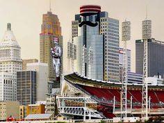 Great American Ballpark and Cincinnati skyline for MLB All-Star game.