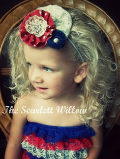 "Vintage Inspired Shabby Chic ""All American"" Headband - The Scarlett Willow  https://www.etsy.com/listing/102802227/vintage-inspired-shabby-chic-all"