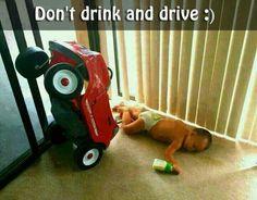 Bú sữa xong say xỉn lái xe không nổi.