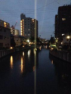 Downtown Funabashi lights on the Ebigawa river