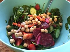 """This salad is as""""chic"""" as it gets with its bright colors and fun shapes. Not only is this salad stylin',but it's alsotastyand good for you.  I'm on a kale kick again, so I used baby kale for the base of this salad. When buying greens in a bag, Ifind regular kale to have hard stems so I like buying baby kale.I added in my favorite veggies;mini cucumbers, cherry tomatoes andmini peppers.   To give this salad some pizazz I topped it with a chick pea salad and be..."""